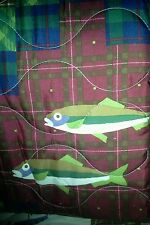 1 Twin QUILT + Sham Lure Fish FLY fishing Lodge cabin lures lake boat duck keel