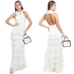 RRP €1250 RALPH LAUREN PURPLE LABEL Silk Tiered Wedding Dress Size 6 / S Ruffle