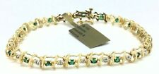 Genuine 1.62 Cts Emeralds & Diamonds 10k Yellow Gold Bracelet