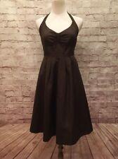 J.CREW Lydia Dress Size 2 Dark Brown Cotton Fit & Flare Halter w/ Pockets