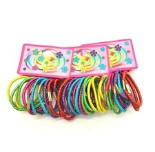 Pack of 36 Shiny Bright Coloured Hair Bobbles Head Elastics Hair Accessories