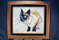 Vintage Fritz Hug MCM Siamese Cat Giclée Print on Canvas Framed Wall Decor