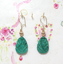Malachite With 14K Gold Earrings. 1.75 Inches Long. MC14K001