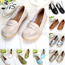 Nis Womens Loafers Ladies Leather Pumps Boat Shoe Slip On Flats Casual