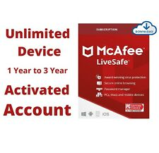 McAfee LiveSafe 2021 Premium Subscription Unlimited Device 1, 2, 3 Year