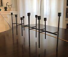 Modernist Candelabra Black Steel 10 Candle Holder Centerpiece Handmade Linear