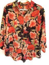 Zara Botanical Floral print blouse mustard orange red pads 80s M-L UK12 40