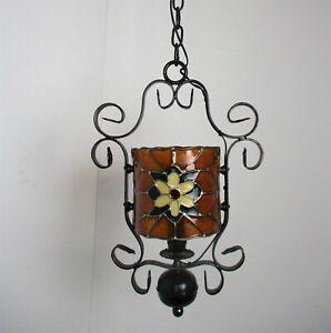 Chandelier Pendant Lantern 1 light Polychrome Flower  Hard Plastic  Wrought Iron