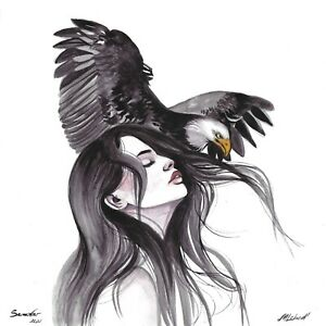 original painting 30x30 cm 399LM art samovar Watercolor modern animal bird woman