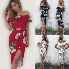 Fashion Womens Summer Boho Floral Beach Dress Evening Cocktail Long Maxi Dresses