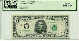 FR 1969-H* Star 1969 $5 Federal Reserve Note 66 PPQ GEM NEW