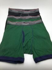 $37 Hanes Boys Green Black Comfort Tagless Cotton Boxer Briefs 3 Pack Xl
