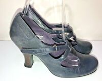 Red or Dead navy leather Mary Jane victorian heel shoes size 5