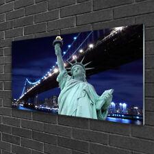 Wandbilder 100x50 Glasbild Druck auf Glas Brücke Freiheitsstatue Architektur
