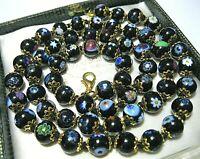 Lovely Black Millefiori Venetian Murano Glass Bead Long Vintage Style NECKLACE