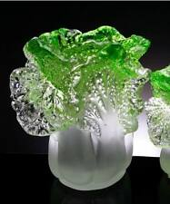 Liuli pen vase, Crystal pencil vase, Chinese cabbage pen container art crafts