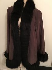 Yves Saint Laurent Brown Fourrures Fox Fur Trim Coat Size 42