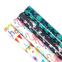 4pcs Gift Wrapping Paper Roll Flamingos/Dinosaurs/Unicorns Design Decoration