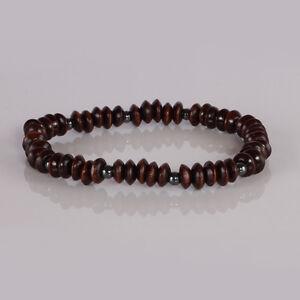 Wooden and Black Hematite Bracelet