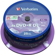VERBATIM DVD+R DL DUAL LAYER BLANK DISCS 25 SPINDLE 8.5GB. 8X SPEED - 43757