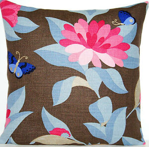 Toffee Cushion Cover Flowers Butterflies Blue Pink Bernhardt Osborne & Little