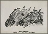 """1888 Horse Racing, Horses, antique print, ART, Ives, Sports, 16x10"""""""