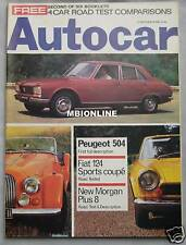 Autocar 12/9/1968 featuring Morgan Plus 8, Fiat 124 Sport Coupe, Peugeot