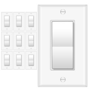 3-Way Wall Light Switch, On/Off Rocker Paddle Interrupter, UL Listed, 10 Pack