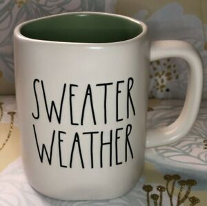 Rae Dunn Sweater Weather Mug Green Interior 2020 VHTF