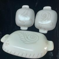 Vintage Glidden Art Pottery Feather Replacement casserole lids - 2 small, 1 med.