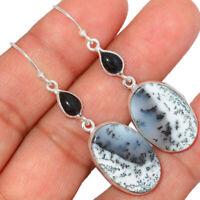Merlinite Dendritic Opal - Turkey & Black Onyx 925 Silver Earrings BE3026