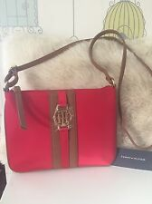 New Tommy Hilfiger Red Satin Crossbody Handbag With Gold TH Logo