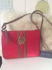 New Tommy Hilfiger Red Satin Crossbody Handbag With Gold TH Logo