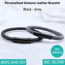 Venice Black Grey Leather & Stainless Steel Mens Personalised Engraved Bracelet