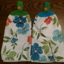2 Double Crocheted Top Dish Hanging Towel Bright Colorful Floral Design