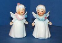 "Vintage Pair Mini 2"" Napco Christmas Angels Figurines w/Spaghetti Trim"