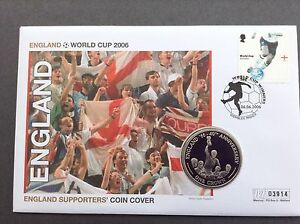 2006 World Cup England Supporters 1 Crown Coin Cover - Mercury Free 2nd P&P