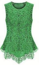 New Women Sleeveless Embroidery Lace Flared Peplum Crochet Top Vest blouse