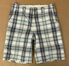 Abercrombie Boys Size 14 White Blue plaid  Flat Front Casual Shorts