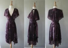 Vtg 1970s Paty o'neil purple floral  dress size 3 or fit up to W24""