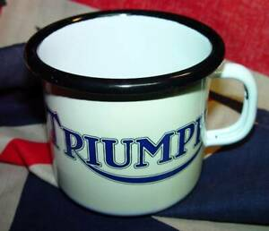 Triumph Logo, Motorcycle, Steel & Enamel, tea, coffee, expresso CUP.