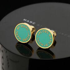 MARC BY MARC JACOBS Enamel Logo Disc Stud Earrings In Green/Golden