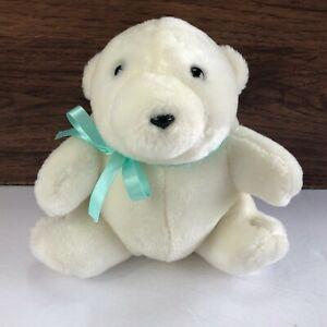 "Polar Teddy Bear Plush Blue Bow Sitting Down White Stuffed Animal 8"""