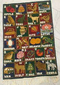 Nepal Handmade Crewel Wool Alphabet Rug Hanging Wall Boho Baby Nursery Decor 2x3