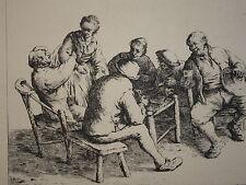 RARE Gravure Eau Forte OSTADE ESTAMINET BAR HOLLANDE NEDERLAND HILLEMACHER 1845