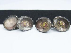 Antique Georgian Sterling Silver Stuart Rock Crystal Gold CC Cufflinks Buttons