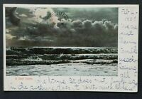 1907 Honolulu Hawaii to Wichita Kansas Moonlit Surf Scene RPPC Postcard Cover