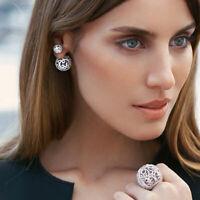 Pop Womens Silver Plated Double Crystal Ball Ear Stud Earrings Jewelry Gift