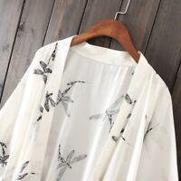 Womens Summer Dragonfly Print Chiffon Cardigan Japanese Kimono Open Front  Blous