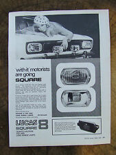 LUCAS SQUARE QUARTZ HALOGEN FOG & LONG RANGE LAMPS 1968 ADVERT READY TO FRAME